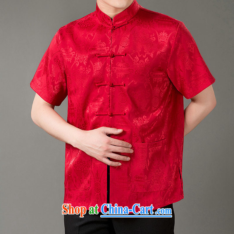Federal Bob poetry short-sleeved Chinese male, older men and Chinese summer 2015, emulation, Tang Replace T-shirt hand-tie dress Chinese, for Tang red XL_175