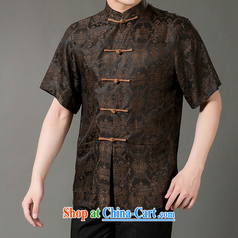 Federal Bob poetry short-sleeved Chinese men and elderly people in Hong Kong cloud yarn male Chinese summer 2015, silk Tang replace manually the Snap national costumes, Chinese collar Tang very coffee XL/175