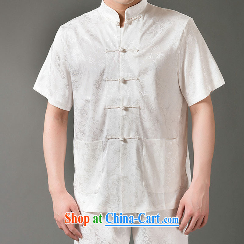 Federal Bob poetry short-sleeved Chinese men and set the older men and Chinese summer 2015, emulation, Tang replacing manual tray snap national costumes Chinese, for Chinese White XL/175