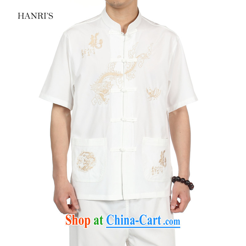 Han Rui hanris China wind hot, short-sleeved shirts Tang in older men and replace the snap shirt Chinese, for loose load short pants white shirt 43_185