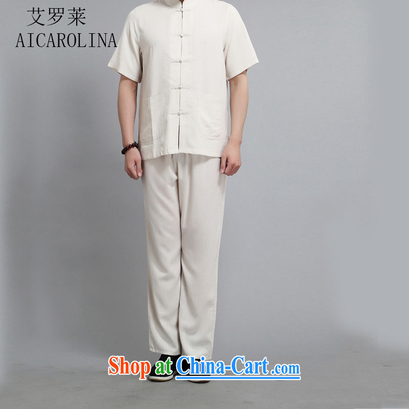 The Carolina boys middle-aged and older Chinese men and short sleeve with middle-aged men Xia Tang load short-sleeved Kit older persons summer China wind beige XXXXL