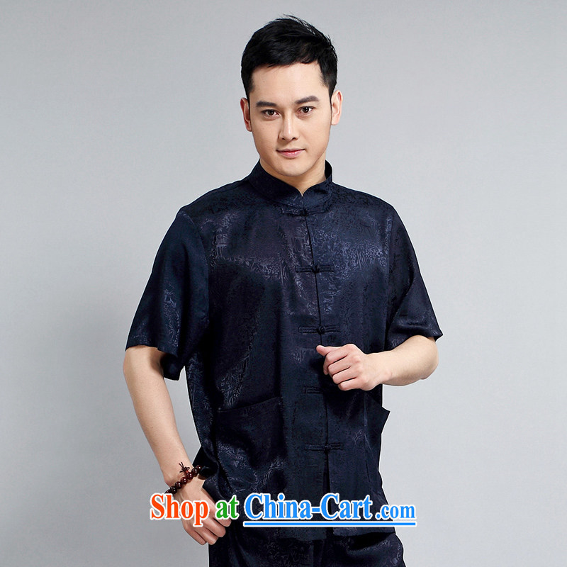Tang is the short-sleeve kit summer New Tang replacing kit Ching Ming Tang replacing the older exercises Tai Chi Kit, collared T-shirt with short 1501 package blue 180