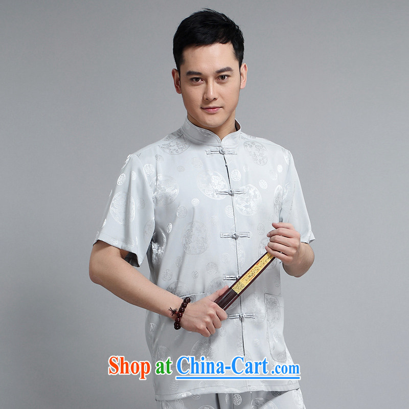 Mr Tang is the short-sleeve kit summer new short-sleeved Tang load package the Kowloon Tong in older practitioners Tai Chi uniform shirt Tang replace 1502 gray Kit 190