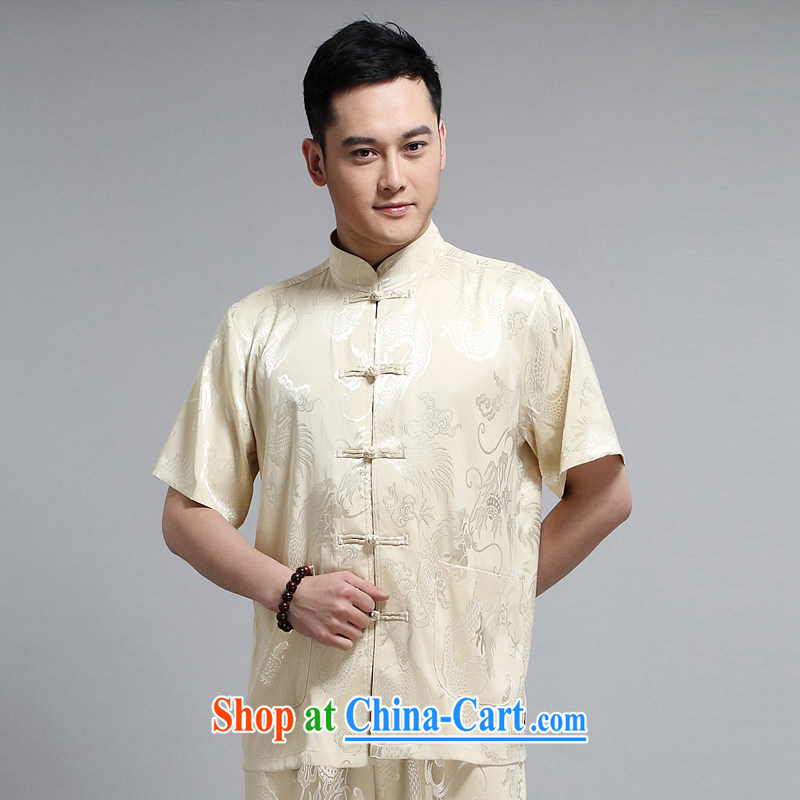 MR HENRY TANG replace men and short-sleeve kit, older men and the practitioners serving Tai Chi uniforms morning exercises his father boxed 1505 yellow 190