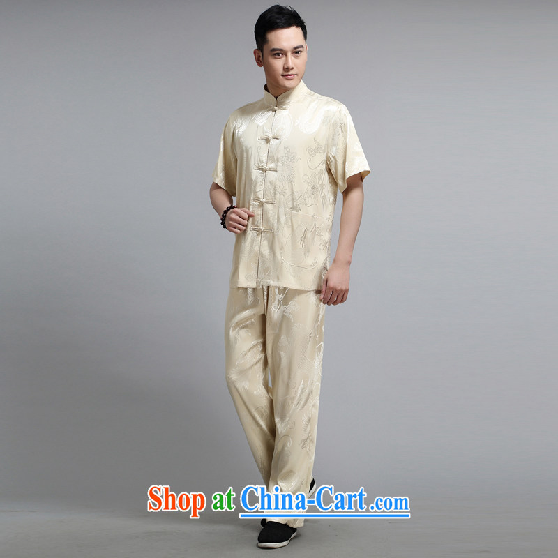 Tang is the short-sleeve kit, older men's exercise clothing Tai Chi uniforms morning exercise clothing father replace 1505 yellow 190, JACKE EVIS (JACK EVIS), shopping on the Internet