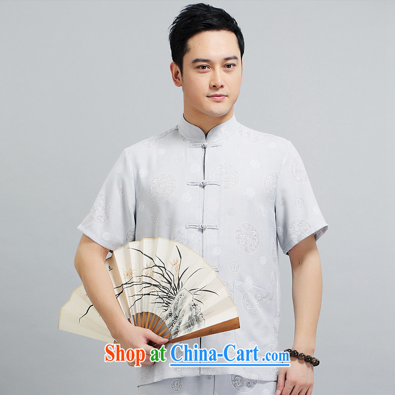 Tang is the short-sleeve kit new summer, short-sleeved Kit Tang replace older practicing Tai Chi Kit father loaded 1508 gray 175