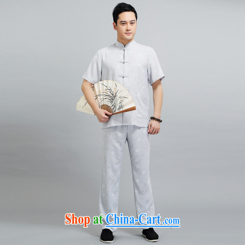 Chinese men and a short-sleeved Kit summer new short-sleeved Kit Tang on the older exercises Tai Chi Kit Dad loaded 1508 gray 175, JACKE EVIS (JACK EVIS), online shopping