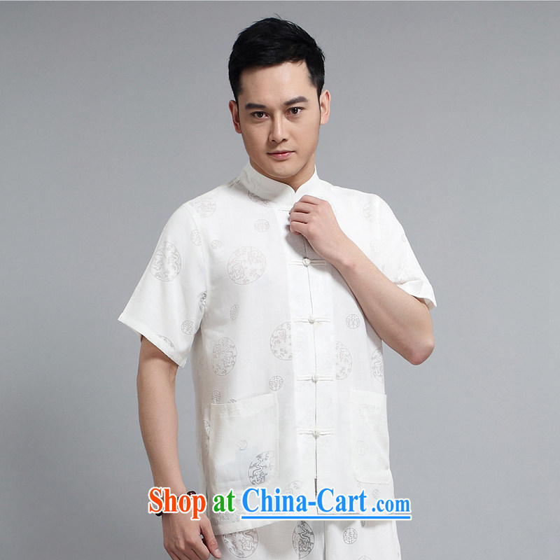 Mr Henry TANG is the 2015 summer new short-sleeved Tang package with the Commission the cotton Ma Tang replace older practicing Tai Chi Kit, T-shirt 1508 Package white 180