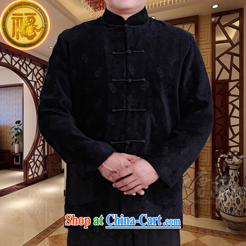 Federation, Mr Tang poetry with men and long-sleeved 2015 New China wind spring male Chinese elderly in his birthday life clothing Chinese father jackets black 190