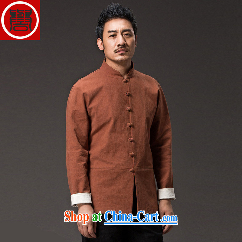 Internationally renowned 2015 spring, male Chinese linen solid color long-sleeved loose China wind men's jackets men's disc buckle Yi ethnic wind orange 4 XL