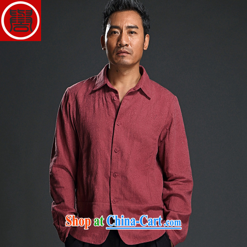 Internationally renowned men's jacquard long-sleeved T-shirt lapel men and national costumes China wind men's shirts spring improved Chinese shirt wine red (XL)