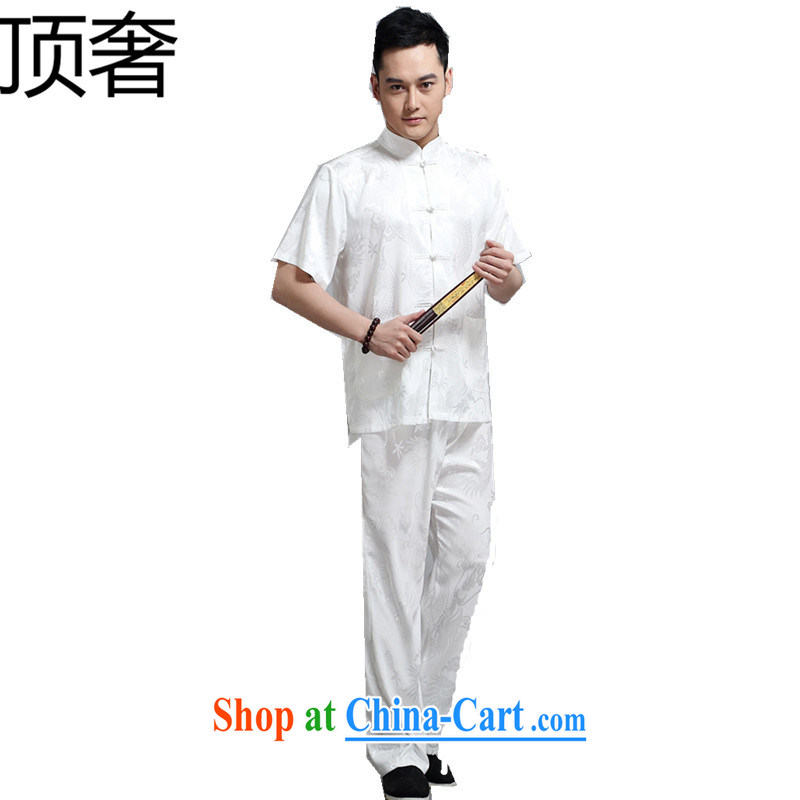 Top Luxury summer men's Chinese-buckle Tang load package short-sleeved shirt men China wind summer T-shirt men's short sleeve with large numbers of elderly grandparents summer white 180