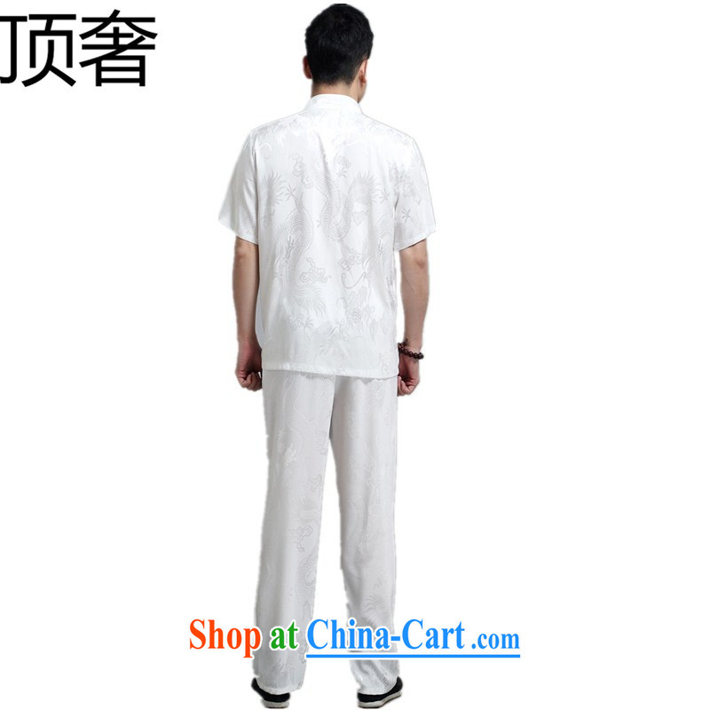 Top Luxury summer men's Chinese-buckle Tang is set short sleeved T-shirt, and Chinese wind summer T-shirt men's short sleeve with large numbers of elderly grandparents summer white 180, the top luxury, shopping on the Internet