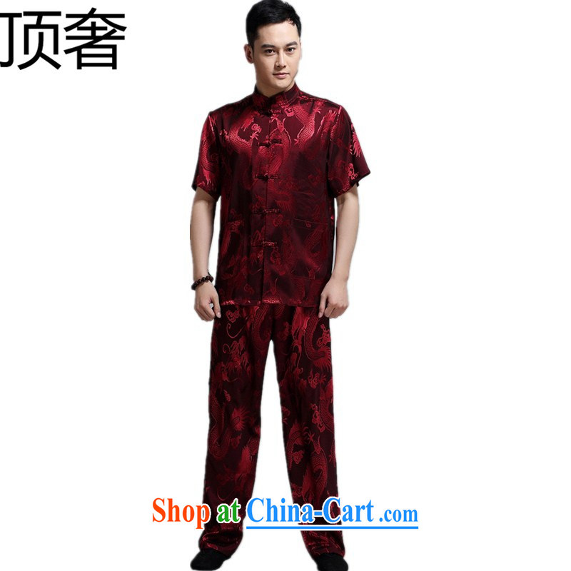 Top Luxury 2015 summer men's short-sleeved Chinese T-shirt, older persons with short package Han-Chinese wind cynosure serving Chinese, for the buckle clothing pants red 180