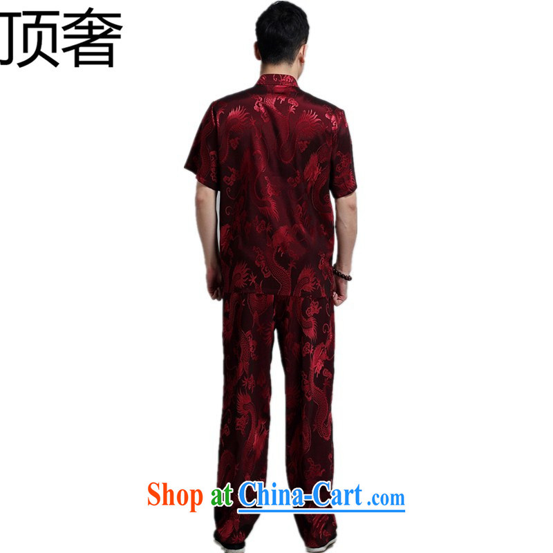 Top Luxury 2015 summer men short-sleeved Chinese T-shirt, older persons with short set Han-Chinese wind cynosure serving Chinese, for the buckle clothing pants red 180, the top luxury, shopping on the Internet