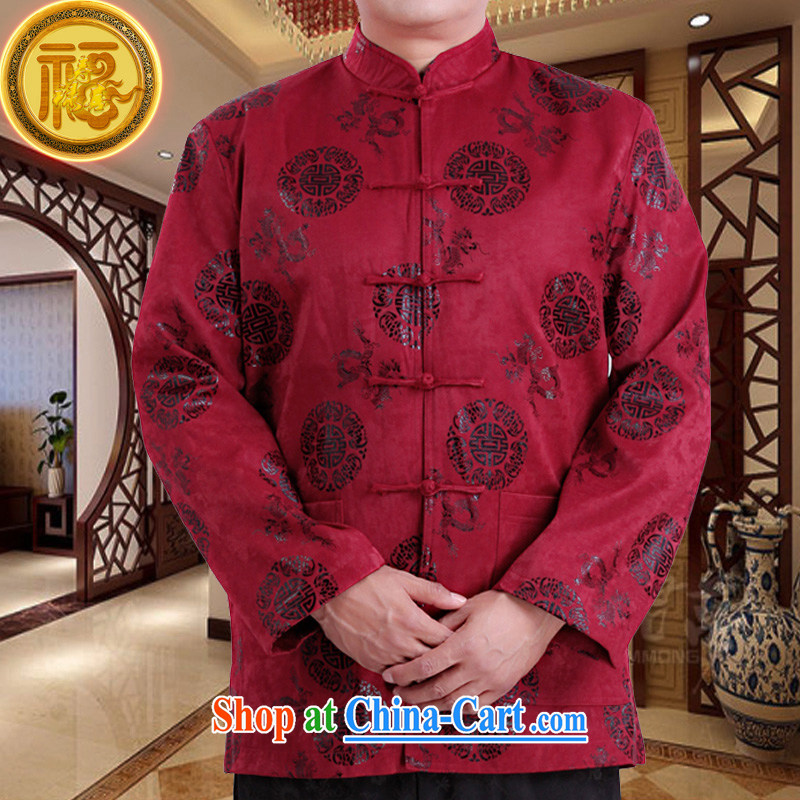 Federation, Mr Tang poetry with men and long-sleeved 2015 New China wind spring male Chinese elderly in his birthday life clothing Chinese father jackets red 190