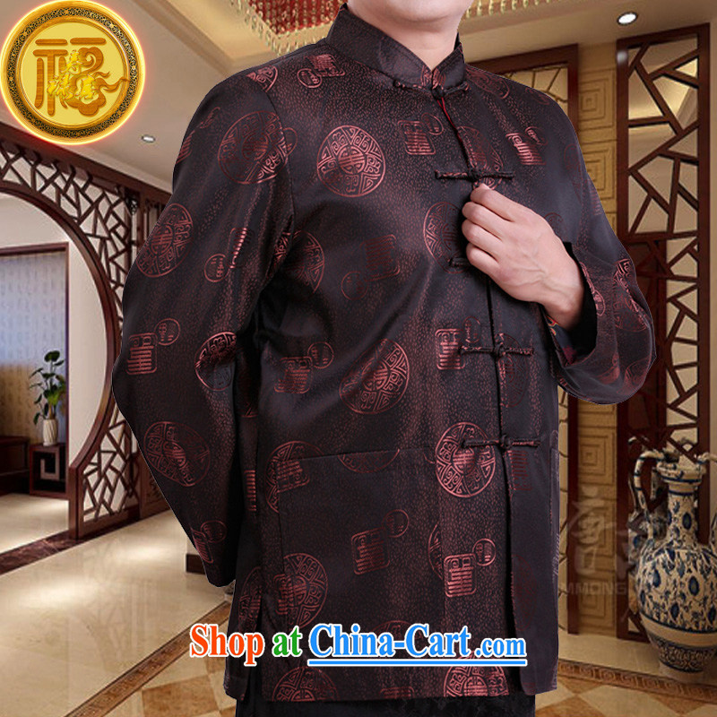 Federation, Mr Tang poetry with men and long-sleeved 2015 New China wind spring male Chinese elderly in his birthday life clothing Chinese father jackets coffee 190