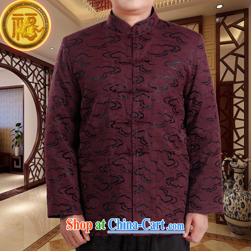 Federation, Mr Tang poetry with men and long-sleeved 2015 New China wind spring male Tang replace older birthday life clothing Chinese father jackets purple 190