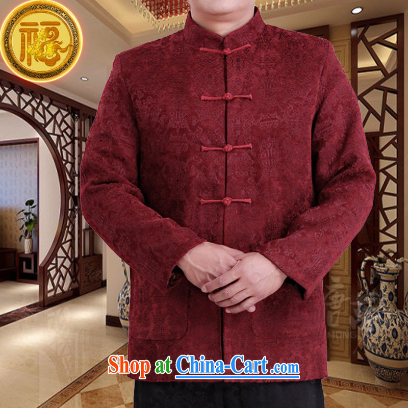 Federal Bob poetry spring Chinese men and long-sleeved 2015 new high-end wool male Chinese elderly in birthday life clothing Chinese father jackets red 190