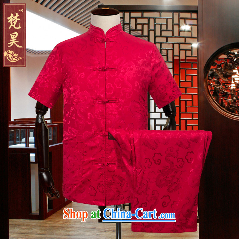 Van Gogh's new summer Chinese men and a short-sleeved package older silk shirt large, kung fu T-shirt Dad loaded half sleeve TDS 519 red XL
