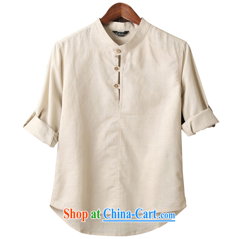 happy times Happytime spring 2015, linen long-sleeved T-shirt China wind linen shirt men and 5 XL beige 5 XL