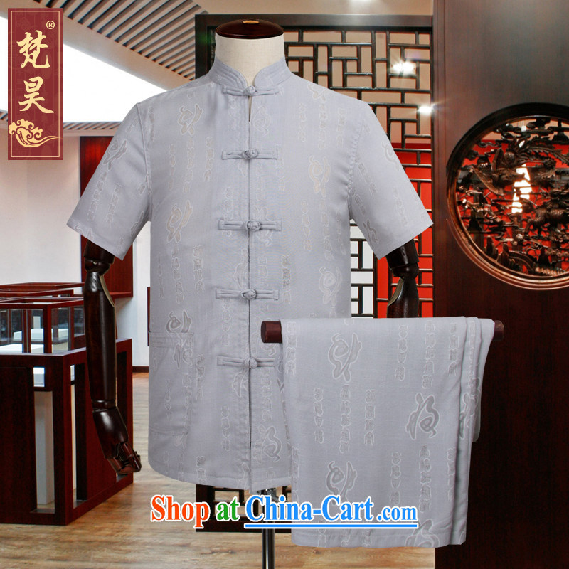 Van Gogh's cotton the Chinese men's short-sleeved summer older linen shirt-tie kung fu shirt TDM 505 gray 4 XL