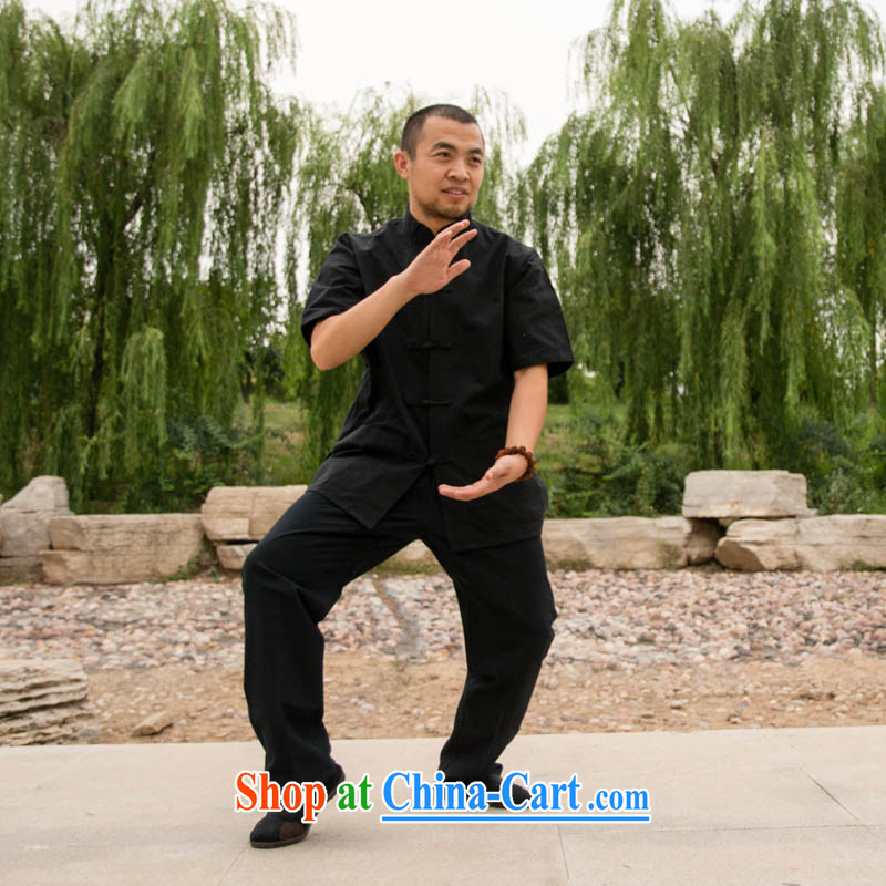 cubufq pure cotton short-sleeved Chinese cotton Chinese men and women serving Tai Chi exercises service performance service morning exercise clothing Chinese clothing multi-color black short-sleeved Tang replace 175/41