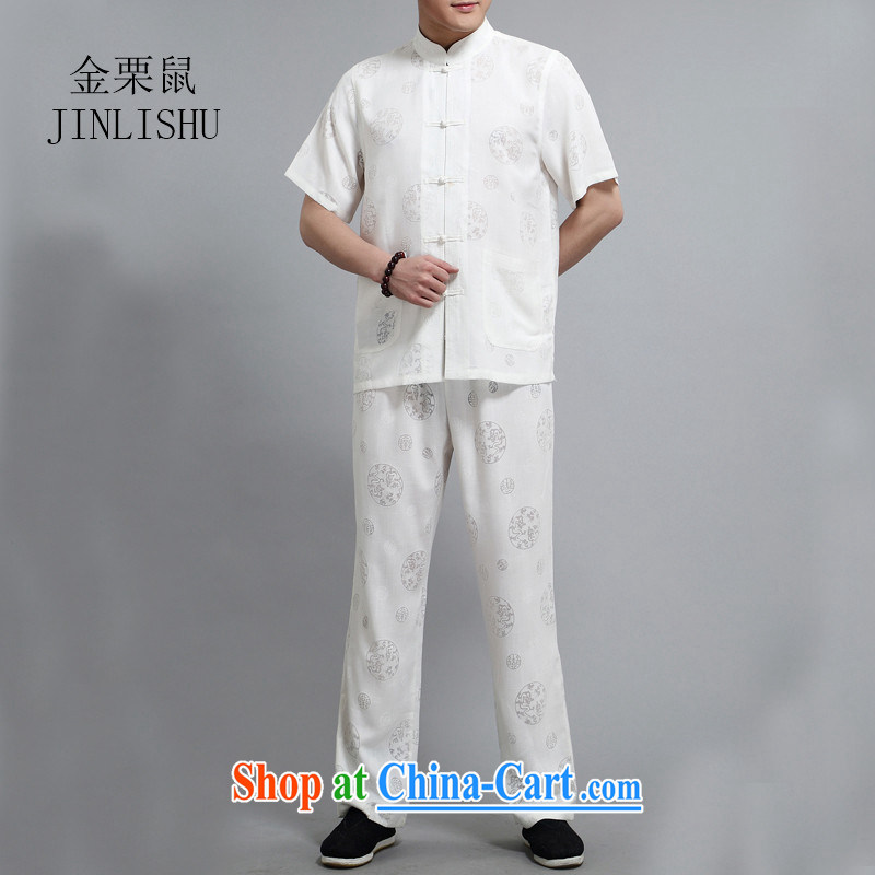 The chestnut mouse linen men's Chinese package short-sleeved shirt summer manual tray snaps Chinese national costumes and comfortable white XXXL