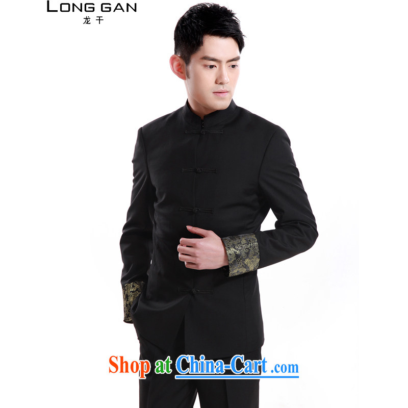 Lung dry Tang fitted smock, who wore suits suits China wind Han-cultivating men's casual black XXL_185