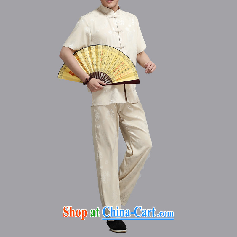 Kim Jong-il chestnut Mouse middle-aged and older Chinese package short-sleeved older persons in men's father served with summer T-shirt pants gold L, the chestnut mouse (JINLISHU), shopping on the Internet