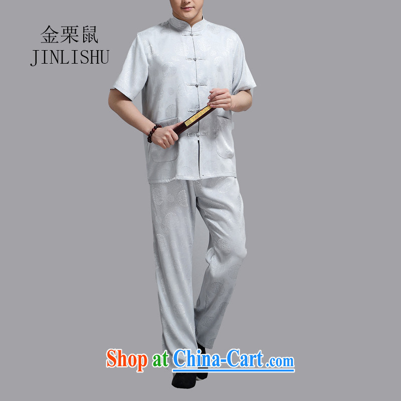 The chestnut mouse and older short sleeve T-shirt with pants father with Chinese national summer Chinese Wind Light Gray XXXXL