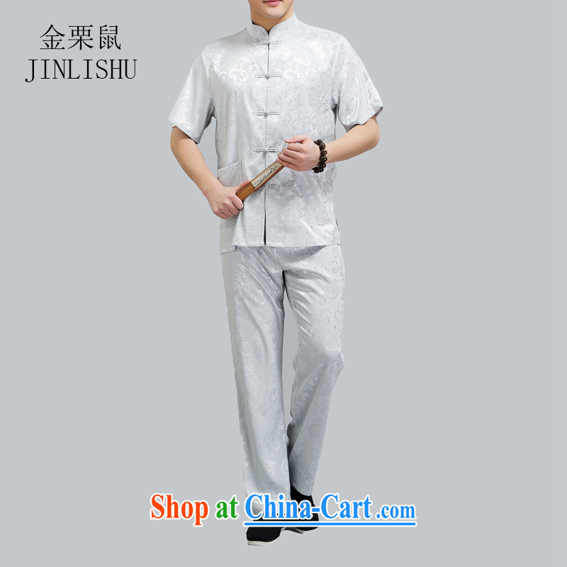 The chestnut mouse China wind men Tang in older Chinese men's short-sleeved package the code older boy summer light gray XXXXL