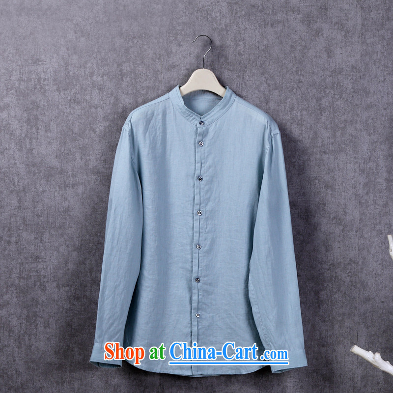 USHOW spring 2015 new designer original linen shirt, for high-end men's long-sleeved T-shirt and stylish casual shirt Lake blue 5 XL 45