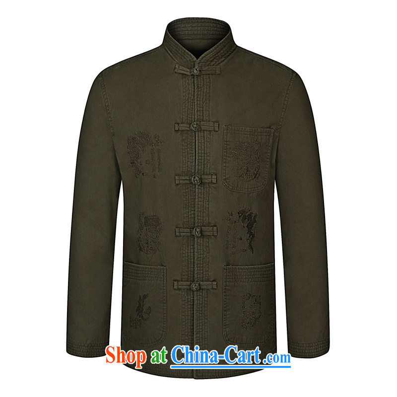 40 Island spring 2015 the new business and leisure Chinese dragon embroidery Pure Cotton Men's Long-Sleeve Tang replacing the code jacket 92_03 pickles color 190