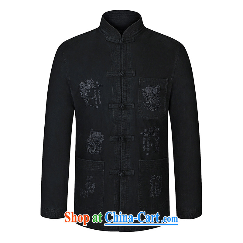 To Simitis 2015 spring new business and leisure Chinese dragon embroidery Pure Cotton Men's Long-Sleeve Tang replacing the code jacket 92_03 black 190