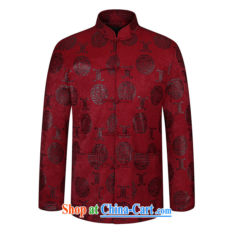To Simitis and stylish Tang for hard-pressed the charge-back long-sleeved T-shirt jacket Chinese-buckle up for 2015 spring male Chinese style Chinese 92_06 wine red 190