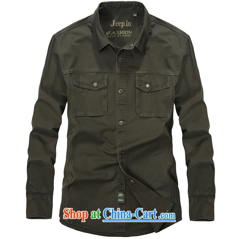 Yuen Long, jeep long-sleeved checkered shirt men's lapel shirt 2325 army green L