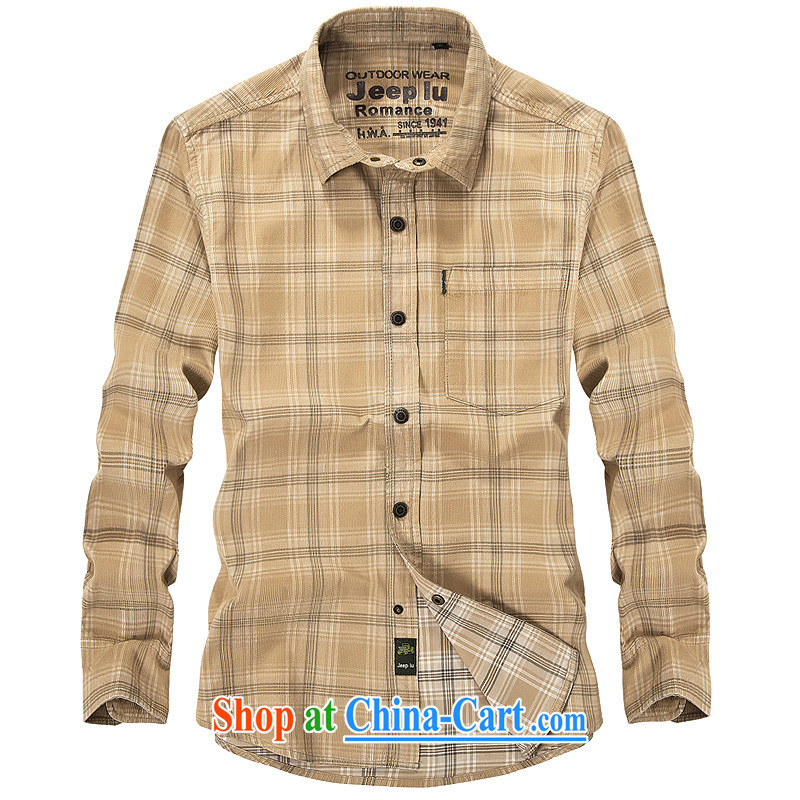 Yuen Long, jeep spring long-sleeved men wearing flowery shirts stripes checkered lapel shirt 2359 card its color L