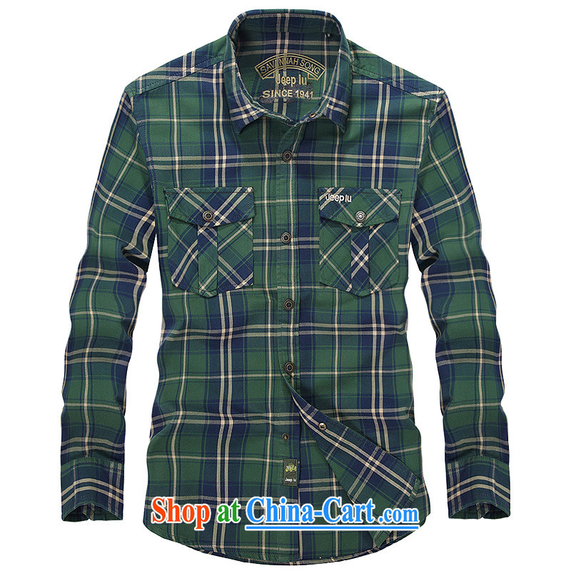Yuen Long, jeep green tartan shirt streaks knocked long-sleeved brown men's shirts 2391 blue L