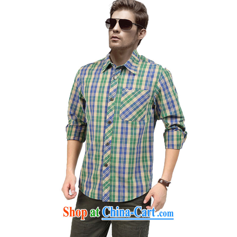 Yuen Long, jeep-colored long-sleeved large, multi-colored stripes snap cotton shirt 2392 card its color L