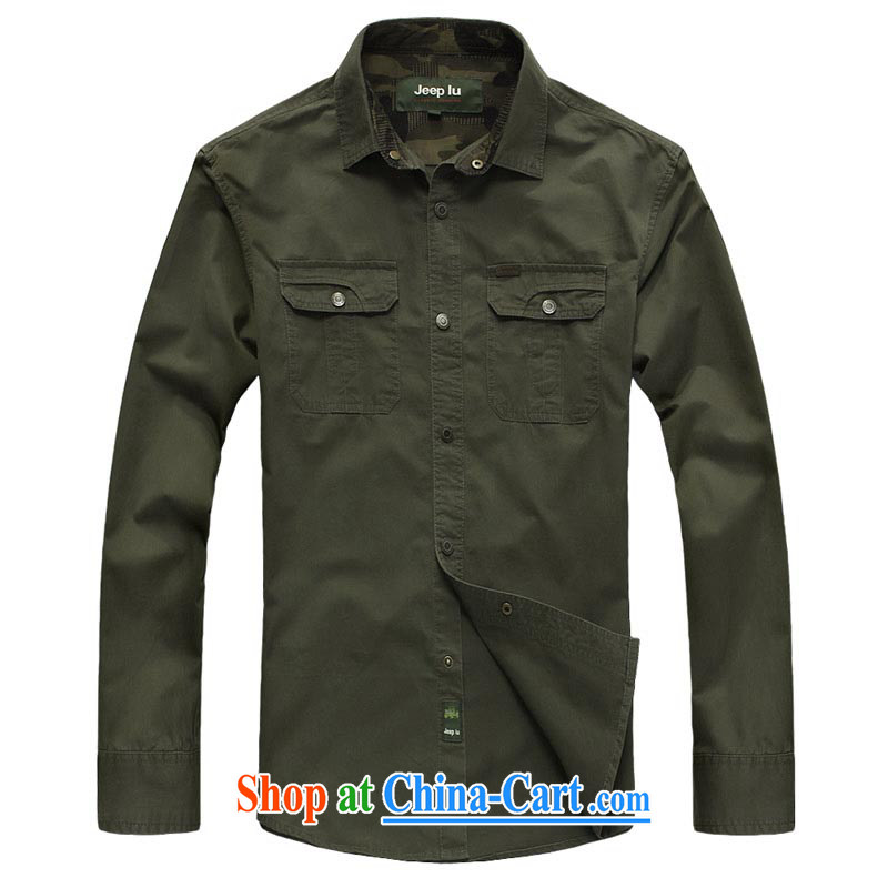 Yuen Long, jeep New Men's large, pure cotton long-sleeved T-shirt snap stitching solid color shirt 8321 army green L