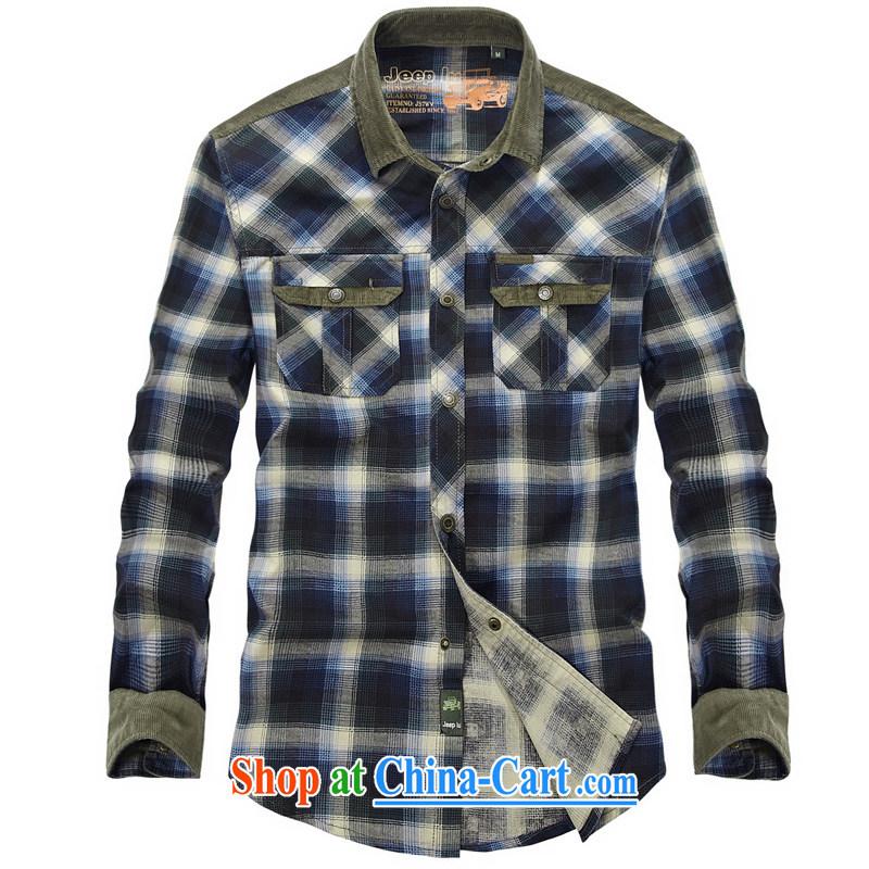 Yuen Long, jeep long-sleeved checkered stitching shirt more pocket cuffs shirt 8363 blue L