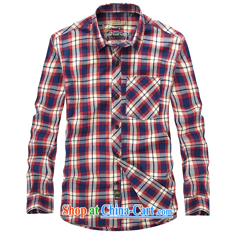 Yuen Long, Roma men's plaid snap shirt long-sleeved over leaders detained 8621 shirt red L