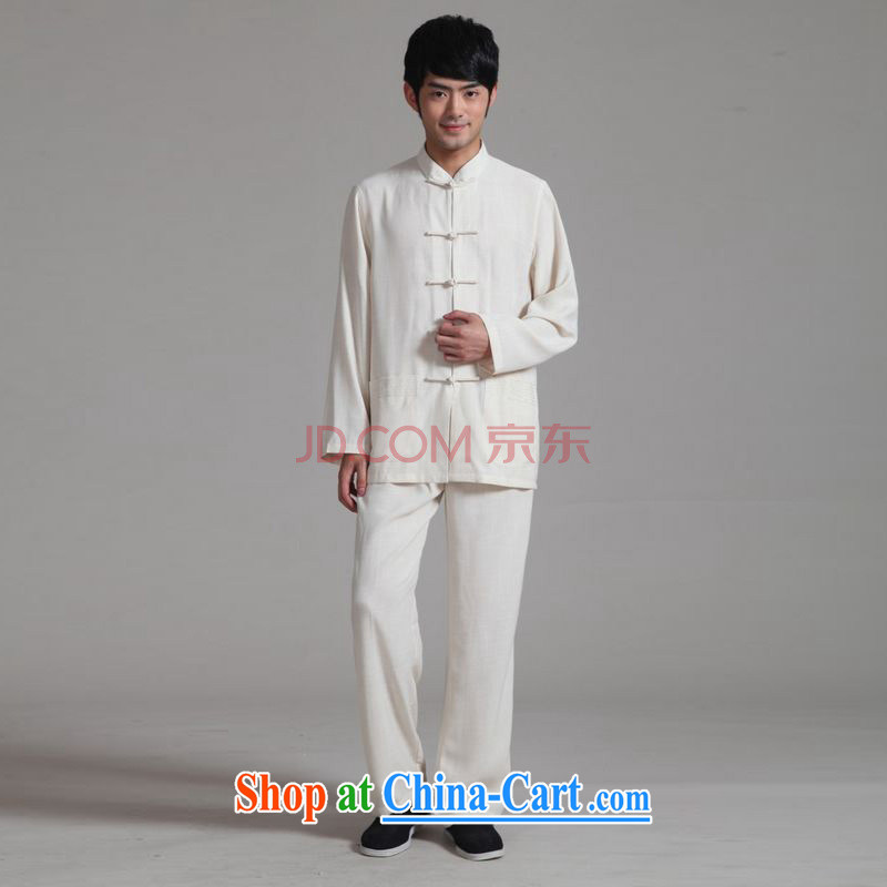 Shanghai, optimize purchase men's Tang with long-sleeved kit, cotton for the Kung Fu T-shirt Tai Chi clothing - 2m White package XL