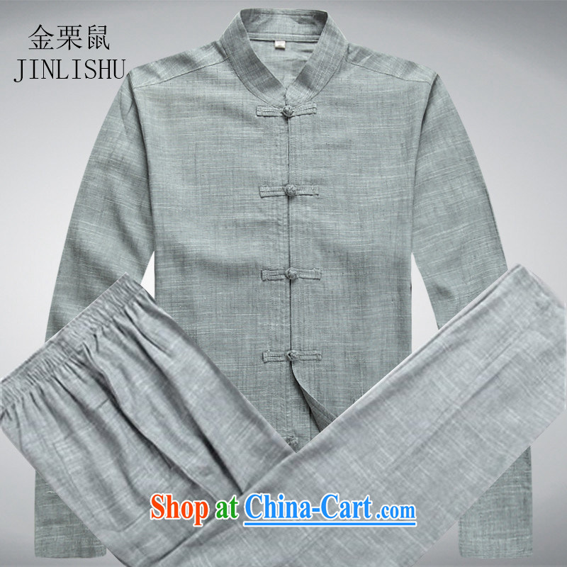 The chestnut mouse spring China wind men's linen Chinese long-sleeved kit, older persons spring Chinese male Blueish gray' package L