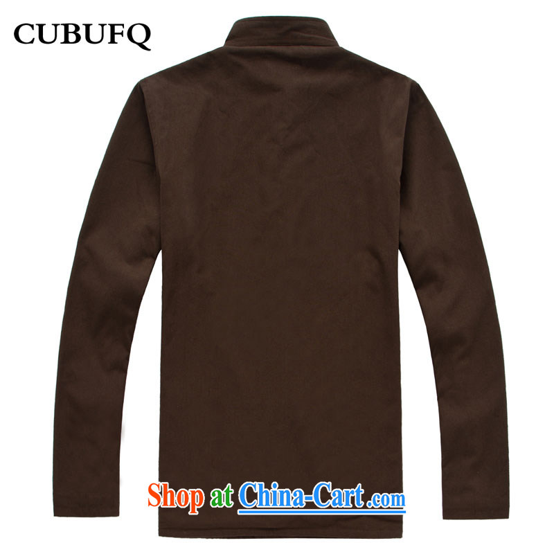 cubufq old muslin and cotton warm long-sleeved men Tang with the lint-free cloth thick men's solid color Tang with brown 180/42