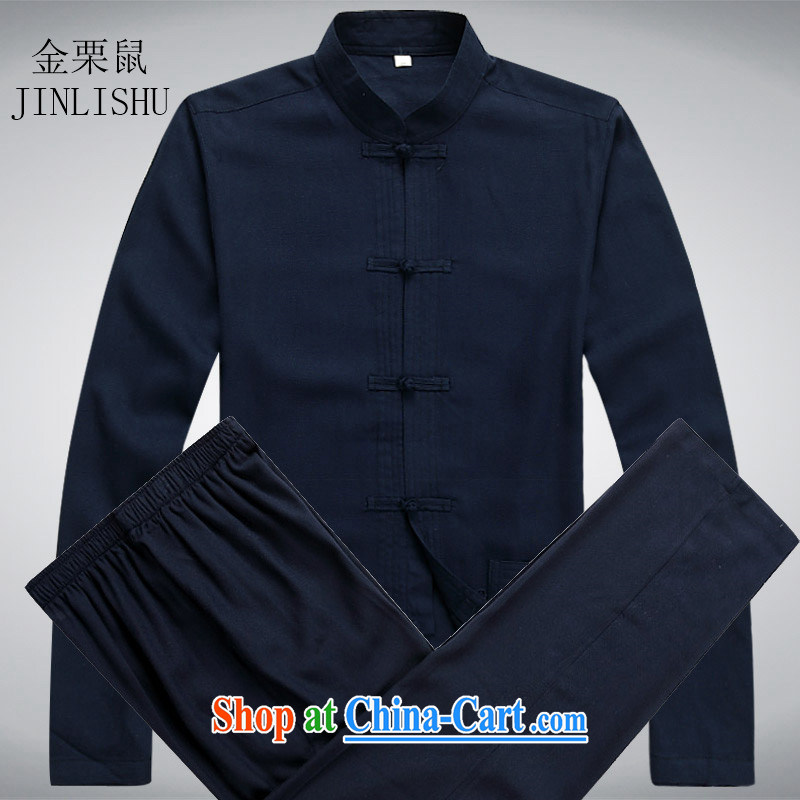 The chestnut mouse spring linen men Chinese men's long-sleeved Kit older persons in Chinese Grandpa summer wear dark blue kit M