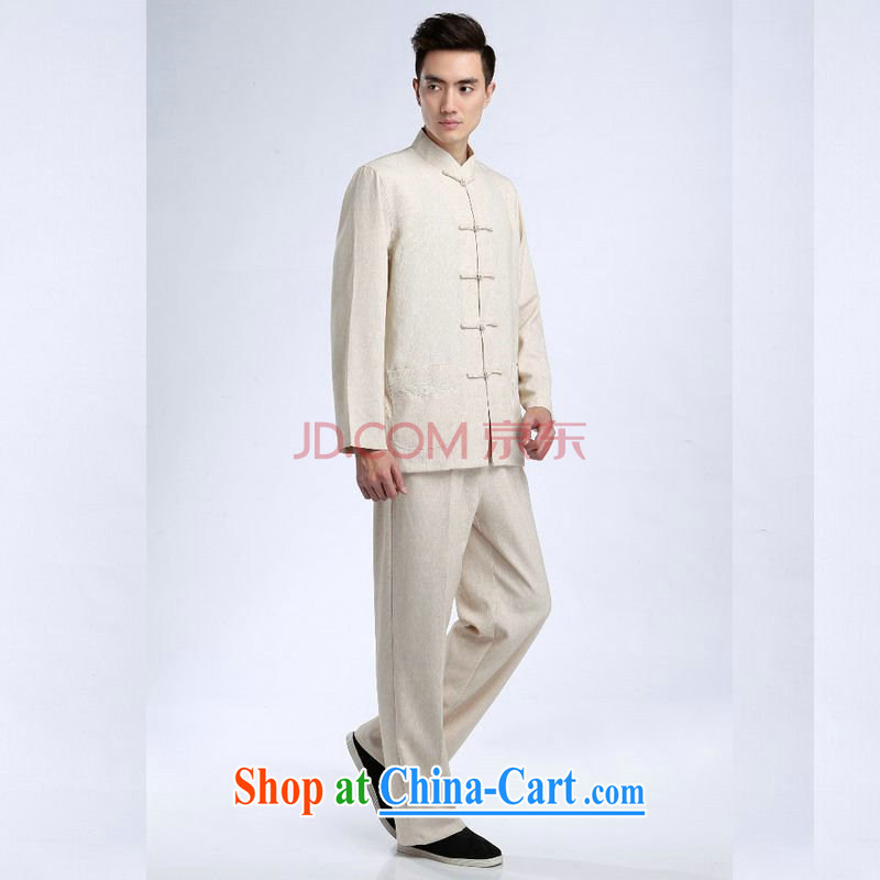 Shanghai, optimize purchase Chinese men long-sleeved jacket and collar cotton linen Tang replacing kit kung fu T-shirt Tai Chi Kit Kit - 1 Kit XXXL