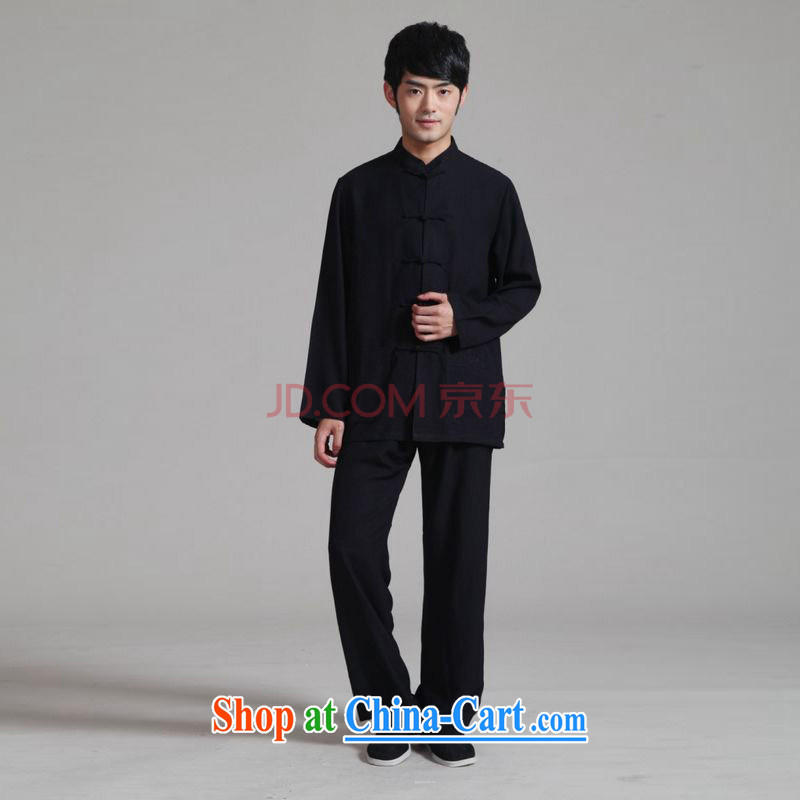 He Jing Ge 2015 men Tang with long-sleeved kit, cotton for the Kung Fu T-shirt Tai Chi Kit - 1 black XXXL