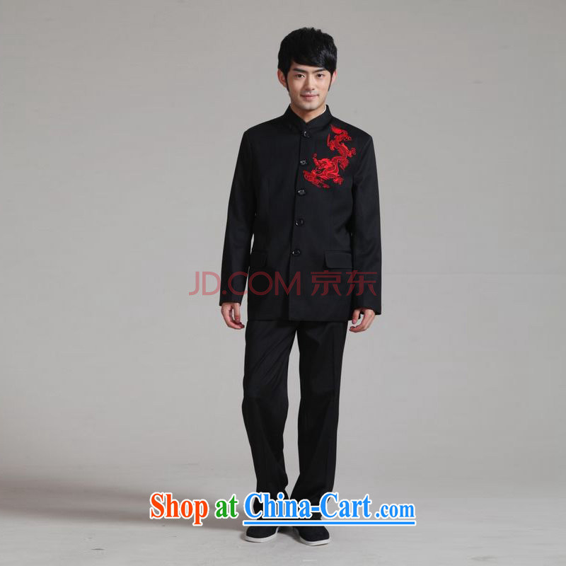 He Jing Ge men and smock collar Korean Beauty suit coats the groom wedding dress Kit - 2 black XXXL